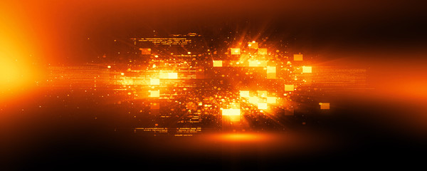Abstract tech background. Floating Numbers HUD Background. Matrix particles grid virtual reality..Smart build. Grid core. Hardware quantum form.
