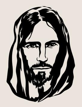 Jesus Face Silhouette, art vector design