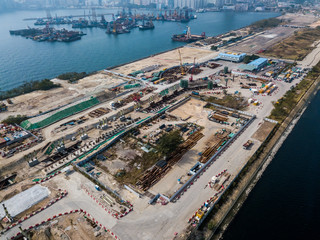 Fotomurales - Construction site of Hong Kong from drone view