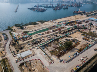Construction site of Hong Kong from drone view