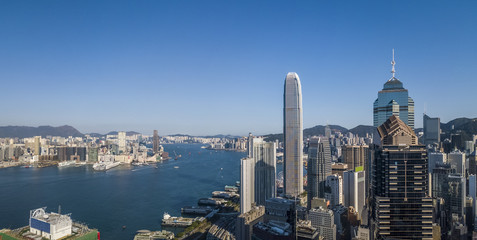Fotomurales - Business District of Hong Kong from drone view