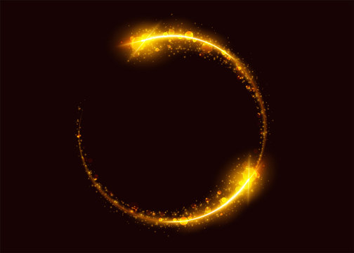Magic Gold Light Effect. Glowing Circle with Light Trail. Abstract Luxury Round Frame with Sparkle, Flare, Glitter, Flash, Spark. Modern Festive Vibrant Illustration with Transparency. Isolated.