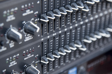 Soft focus of Digital Sound and Recording Console,Professional music and sound mixing