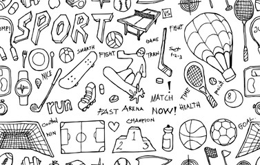 Vector Background Seamless pattern with hand drawn Sport doodle eps10