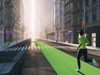 woman jogging alone in the streets of city on a green strip arrow. 3d rendering