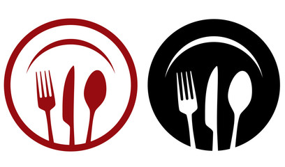 restaurant icons with fork, knife, plate