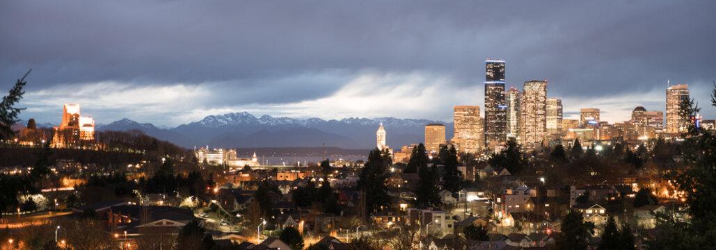 Unique Vantage Point Seattle Washington Downtown City Skyline Puget Sound