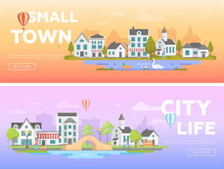 Lovely city - set of modern flat vector illustrations