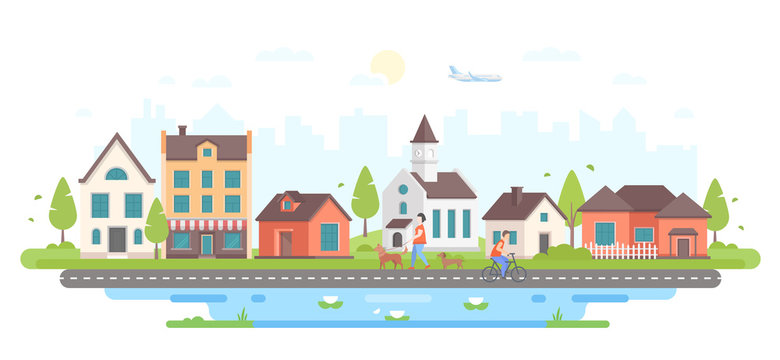 Calm city life - modern flat design style vector illustration