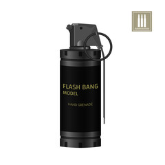 Hand flash grenade of special forces. Detailed realistic image of anti-terrorist ammunition. Police explosive. Weapon icon. Military object. Vector illustration