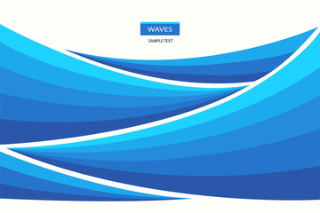 Water Wave abstract design. Marine pattern with stylized blue waves on a light background