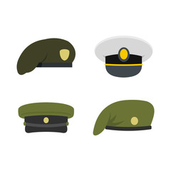 Military cap icon set, flat style