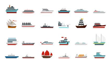 Ship icon set, flat style
