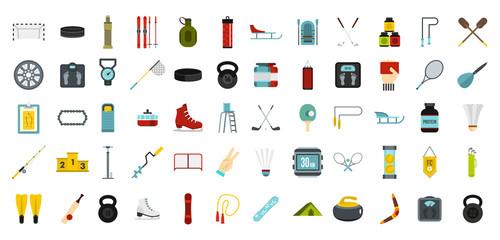 Sport equipment icon set, flat style
