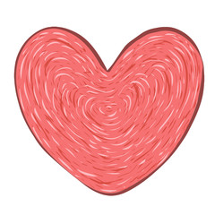 Vector red heart on white background.