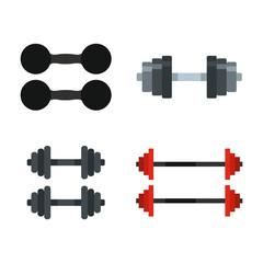 Dumbbell icon set, flat style