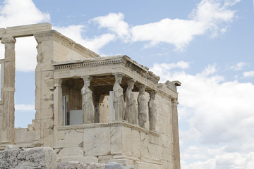 Ancient Erechtheion temple on Acropolis hill in Athens, Greece