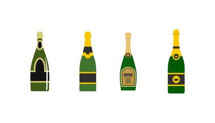 Champagne icon set, flat style