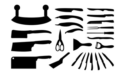 set of kitchen knife silhouette vector Illustration