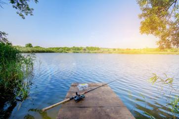 Poster Peche Fishing at the lake
