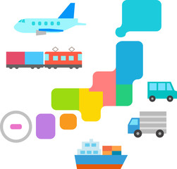 日本列島と貨物輸送のイメージ