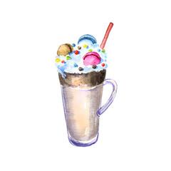 watercolor milkshake with macaroons