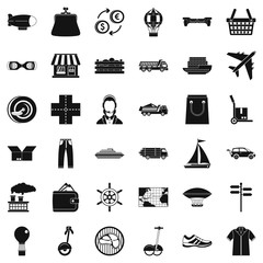Plane delivery icons set, simple style