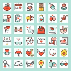 Valentine related filled outline icon size 128 px, drawing on grid system