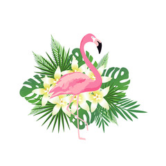 Tropical background with flamingo, flowers and tropical leaves. Summer vector illustration design. Floral background. Exotic background poster