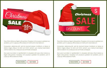 Discounts Tags Santa Claus hats Promo Labels Xmas