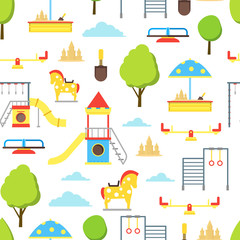 Cartoon Playground Element Seamless Pattern Background. Vector