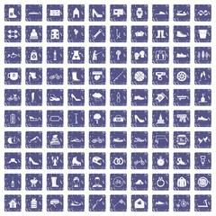 100 shoe icons set grunge sapphire