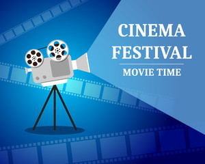 Cinema Festival. Movie time invitation poster with film projector