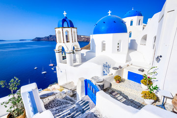 Fotobehang Santorini Oia, Santorini, Greece - Blue church and caldera