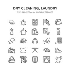 Dry cleaning, laundry flat line icons. Launderette service equipment, washer machine, shoe shine, clothes repair, garment ironing and steaming. Washing thin linear signs. Pixel perfect 64x64.