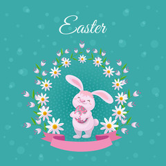 vector easter holiday poster background template with spring festive elements - pink rabbit holding decorated eggs in daisy flowers frame with ribbon for your design. Illustration on green background