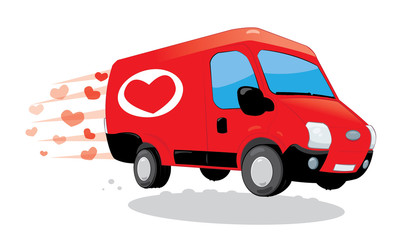a vector cartoon representing a funny red van of love, with heart shape logo on it. Image useful for Saint Valentine or wedding greeting cards. Love concept.