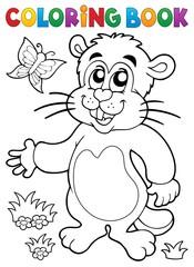 Coloring book groundhog theme image 1