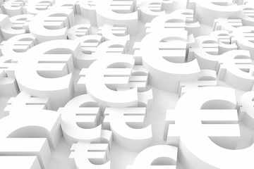 Euro sign background. 3D rendering.