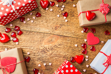 Top view of various gift boxes on wooden table
