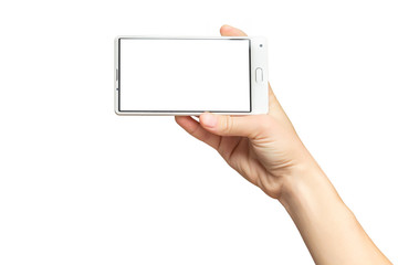 Mockup of female hand holding frameless cell phone with white blank screen isolated at white background.