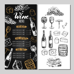 Wine Restaurant Menu. Design template includes different Vector hand drawn illustrations and Brushpen Modern Calligraphy.
