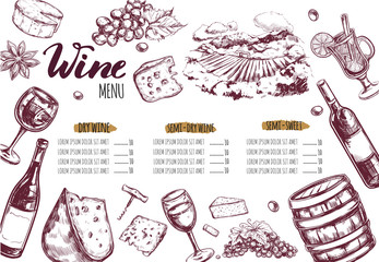 Wine Restaurant Menu. Design template includes different Vector hand drawn illustrations and Brushpen Modern Calligraphy. Fototapete