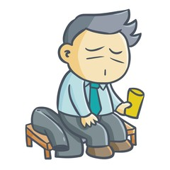 Cute and funny businessman get rest and have a drink - vector.
