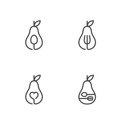 Pear fruit icons outline stroke set design illustration black and white color isolated on white background, vector eps10