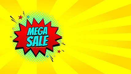 Pop art Mega sale discount promo banner. Decorative yellow background with explosive speech bubbles. Vector illustration with advertizing offer.