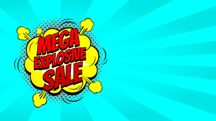 Pop art sale discount promo banner. Decorative blue background with explosive speech bubbles. Vector illustration with advertizing offer.