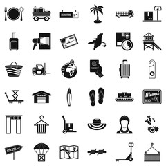 Shipment icons set, simple style