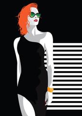 Fashion woman in style pop art.
