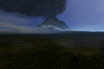 Volcano, a beautiful  landscape, snow and grass on the ground and smoke in the sky.